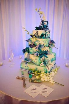 5 Tier square Wedding Cake with sugar flowers and airbrushed details