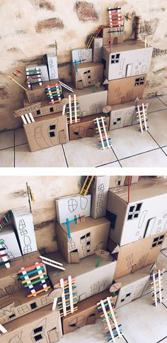 Build your own cardboard box town! Fun kids crafts and play activities from the . - Box , Build your own cardboard box town! Fun kids crafts and play activities from the . Build your own cardboard box town! Fun kids crafts and play activi. Kids Crafts, Arts And Crafts, Cardboard Crafts Kids, Cardboard Box Ideas For Kids, Kids Craft Box, Cardboard Box Crafts, Summer Crafts, Cardboard City, Cardboard Playhouse