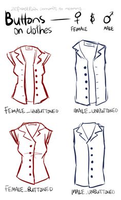 Noteworthy: Buttons on clothes based on character's gender -----Manga Art Drawing Clothing Reference----