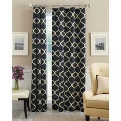 Mainstays Canvas Iron Work Curtain Panel at Walmart. They have grey or black...