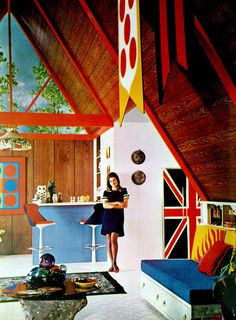 1960's Pop Art Interior... say yes to this wood cabin style. yummmm