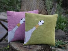 Handmade duck head cushion by MarmaladeSkiesGB on Etsy