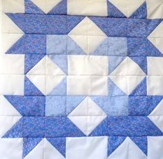 "The jackson star quilt block is a real beauty but very easy to make. Made here as a large 24"" square in two shades of blue. 2 quilt designs included"