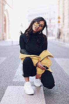Get this look: http://lb.nu/look/8744803 More looks by Rosa Pel: http://lb.nu/rosapel Items in this look: Zero Uv Yellow Sunglasses, Missguided Black Top, Nike Airmax 95 Sneakers #edgy #sporty #street