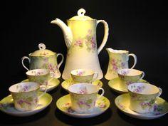 Antique Original 19c. RUSSIAN IMPERIAL PORCELAIN COFFEE SET for 6 by F. GARDNER #FrancisGardner