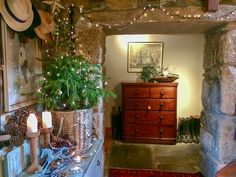 Slate flagstones and exposed stone walls are a perfect setting for a country Christmas