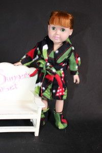 """So cute Fleece robe and Boots for 18"""" dolls"""