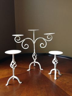 Shabby Chic Wrought Iron Candelabra Set of 3 Cast by NotJustSigns, $65.99