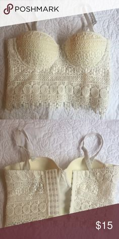 Crochet Bustier Crop Top Brand new without tags. Can fit a size 30a-34b/c.  Adjustable hook closure in the back. Forever 21 Tops Crop Tops