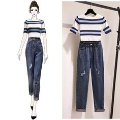 Women Summer O-neck Short Sleeve Casual Stripe Slim Knitted T-shirt + High Waist Ripped Cropped Pants Two Piece Set Source by outfits sketches Girls Fashion Clothes, Teen Fashion Outfits, Mode Outfits, Cute Fashion, Look Fashion, Chic Outfits, Teen Clothing, Fashion Drawing Dresses, Fashion Illustration Dresses