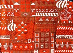 Etsy find, not sure about the amount of red, but I love the pattern. Vintage 1970s Finnish Fabric  Marjatta Metsovaara  by TulipanFarm, $99.99