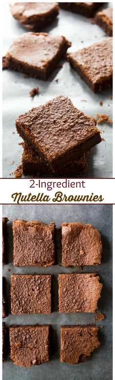 2-Ingredient Nutella Brownies | www.diethood.com | Eggs and Nutella are all you will need to make these delicious brownies | #glutenfree #nutella