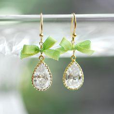 Textile jewelry, Ribbon earrings, Green wedding, Green Crystal drop earrings, Bow earrings, Lime green earrings, Unique fabric jewelry. $39.00, via Etsy.