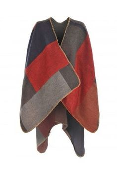 PONCHO WENDE CAPE BUNT GRAU ROT WOLLE STRICK WINTER MANTEL CARDIGAN PULLOVER