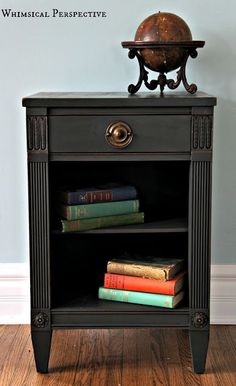 Annie Sloan Chalk Paint in Graphite with Clear and Dark Wax by cecelia