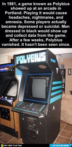 The infamous arcade game Polybius, said to drive players to suicide or madness, was never more than an urban legend. New Arcade Games, Best Horror Stories, Epic Facts, All Video Games, Legends And Myths, Tv Tropes, Best Mysteries, Best Horrors, Arcade Machine