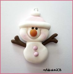 Polymer Clay Pale Pink Snowman Stick Arm  Charm - Snowman in Pink Hat Pendant - Polymer Clay Bow Center Pink Hat Snowman- Snowgirl Focal by michellesclaybeads on Etsy https://www.etsy.com/transaction/1357356322
