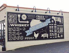 Vintage Graphic Design Southland / Portland, OR Restaurant Signage, Restaurant Exterior, Exterior Signage, Restaurant Design, Restaurant Ideas, Exterior Design, Typography Letters, Typography Design, Branding Design