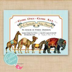 Vintage circus animal baby shower invite