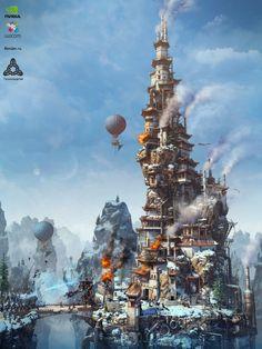 ArtStation - Steam Mage Tower, Alex Serebryakov
