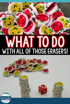 Mini Eraser Activities Dont Have To Be Complicated Use This Ideas For Math Centers, Fine Motor Bins, Or Your Small Group Activities. Ideal For Preschool Or Kindergarten Students. Understudies Will Have Fun Counting And Manipulating The Erasers. Preschool Curriculum, Preschool Math, Homeschooling, Math Math, Math Games, Preschool Apples, Fun Math, Kindergarten Centers, Kindergarten Classroom