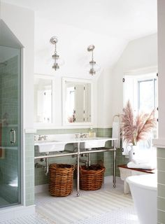 adore this bathroom:  tile, pendants, sinks, mirrors