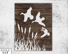 "Wooden Ducks Sign, 11""x14"", Home Decor, Outdoors Hunting, Home Gift, Duck Silhouette, Handmade, Deer Head, Hunter, Ducks, Wall Decor"