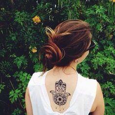 Hamsa, back tattoo