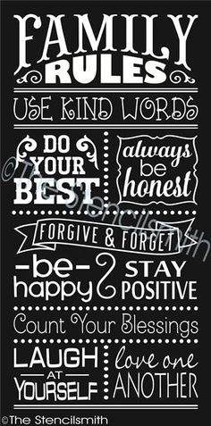 Family Rules stencil chalkboard typography use kin