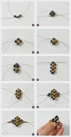 How To - Simple Glass and Bulge Beaded Ring Bead Jewellery, Seed Bead Jewelry, Wire Jewelry, Jewelry Crafts, Jewelry Box, Wire Earrings, How To Make Rings, Ring Tutorial, Necklace Tutorial