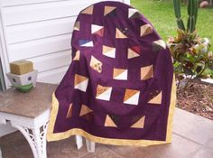 UNFINISHED QUILT TOP Modern Lap Quilt or Baby by TessieTextile, $35.00