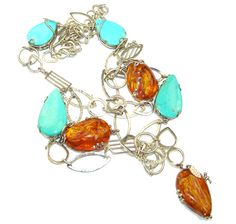 $162.15 Long!+44+inches+Outstanding+Genuine+Amber+&+Sleeping+Beauty+Turquoise+Sterling+Silver+necklace at www.SilverRushStyle.com #necklace #handmade #jewelry #silver #amber