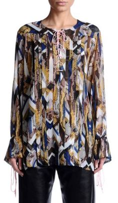 Just Cavalli Women's Multi-Color See Through Blouse Top US S IT Material: Polyester. See Through Blouse, Cool Designs, Sleeves, Color, Tops, Fashion, Blouses, Moda, Fashion Styles