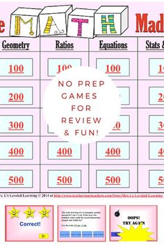 Math quiz games are a perfect way to get students excited about being together again, and have some friendly interaction focused on content! Interactive Power Point game- NO PREP!::