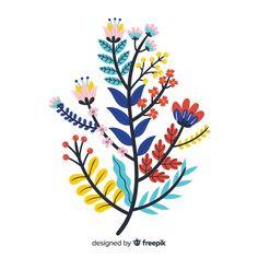 Flat colorful floral branch. Download for free at freepik.com now! #Freepik #freevector #background #flower #wedding #vintage #spring Adobe Illustrator, Flower Graphic, Floral, Wedding Vintage, Flower Frame, Vector Free, Clip Art, Awesome, Illustration