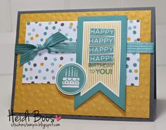 "Amazing birthday ; Banners framelits ; 1 1/4"" Circle punch ; Cuttlebug Seeing spots embossing folder ; Birthday"