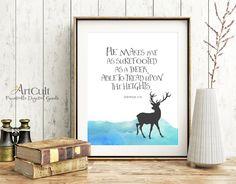 "Printable wall Art digital download Bible verse, Habakkuk 3:19, ""He makes me surefooted as a deer"" artwork for Home decor ArtCult printables by ArtCult on Etsy"