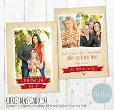 Christmas Card Template Photoshop template por PaperLarkDesigns