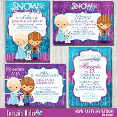 Snow Party printable invitations