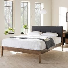 Baxton Studio Kyros Mid-century Modern Grey Fabric Upholstered King or Queen Size Platform Bed  | Overstock.com Shopping - The Best Deals on Beds