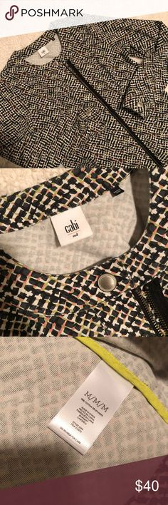 Cabi Pattern moto jacket size medium EuC. Adorable pattern. Lightweight jacket. Cute to dress up or down. Newer cabi styled. Has pockets. Full zip. Fits true to size in my opinion CAbi Jackets & Coats Utility Jackets
