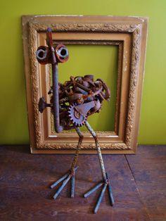 Upcycled Metal Sculpture Ostrich Indoor Outdoor Garden Art. $200.00, via Etsy.