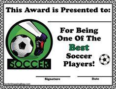 Soccer Certificate Awards