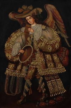 Musician Angel~Cuzco School Original Old Colonial Art Oil Painting