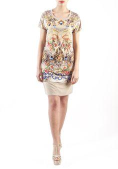 Abito kimono stampa fiori con colori sgargianti e base beige! La #fantasia è tornata di #moda!!#madeinitaly #fashion