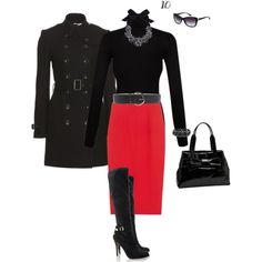 """""""Pencil skirt and turtleneck with tall boots, great for work"""" by chicohio on Polyvore"""