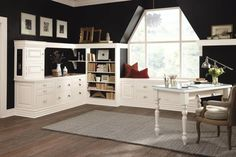 Decorá Cabinetry: Hawthrone Non-beaded Inset Maple Chantille traditional home office