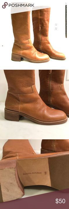 Banana Republic tall British tan leather boots. These are brand new gorgeous banana republic tall leather boots. They are a ladies size 8 1/2. They have inside zippers and are made in Brazil. Classic and quality! Banana Republic Shoes Heeled Boots