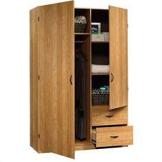 Clothes Bedroom Closet Wardrobe Storage Cabinet Garment Rod Shelves Oak Wood
