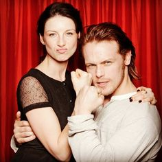 Caitriona Balfe and Sam Heughan -- of Starz's upcoming Outlander series -- mug in the @TVGudeMagazine photo booth